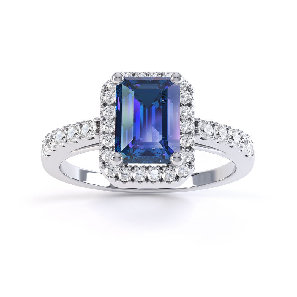 princess sapphire and emerald cut halo platinum