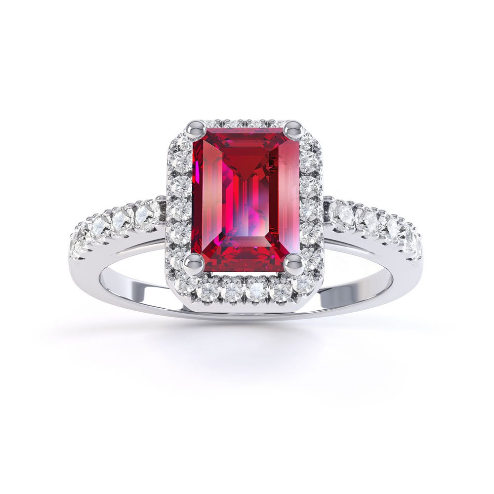 princess ruby and diamond emerald cut halo platinum