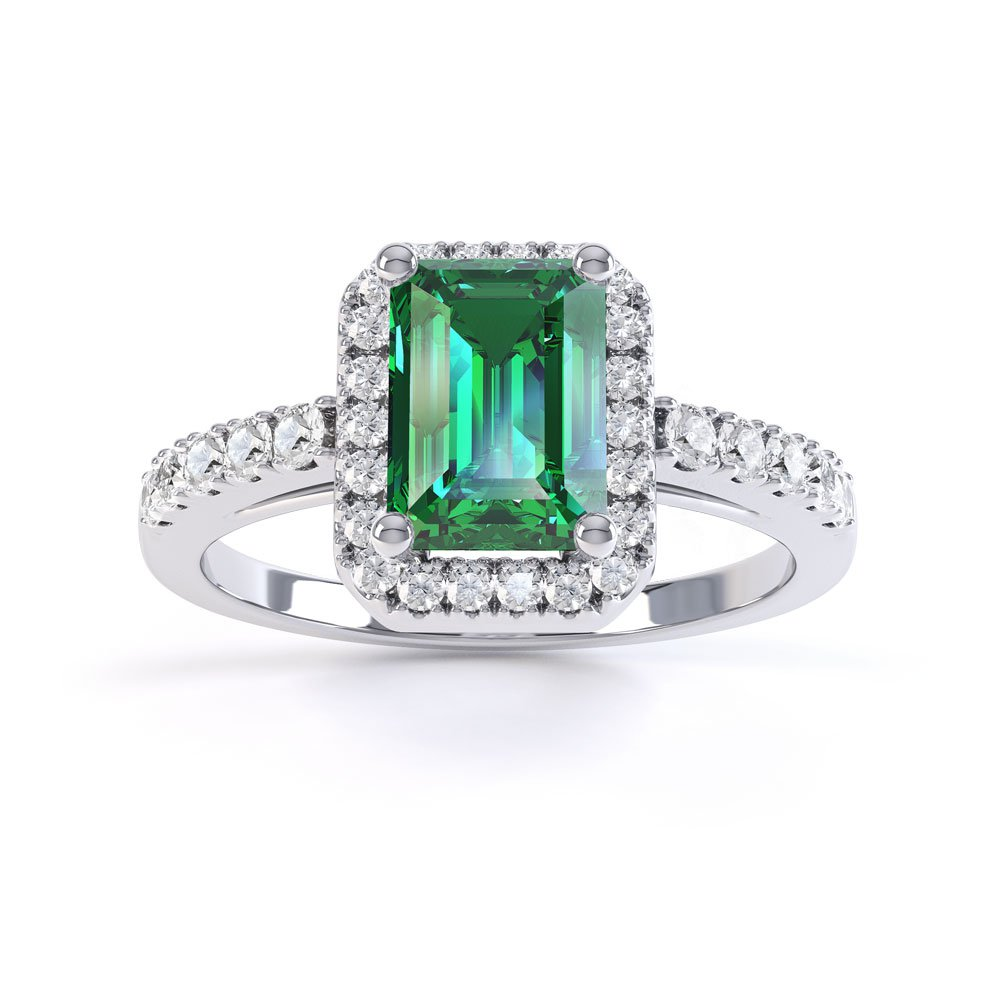 Princess Emerald and Diamond Emerald Cut Halo Platinum Engagement Ring