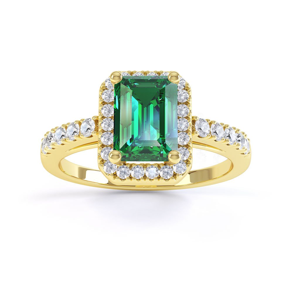 Princess Emerald and White Sapphire Emerald Cut Halo 18ct Gold Vermeil Promise Ring
