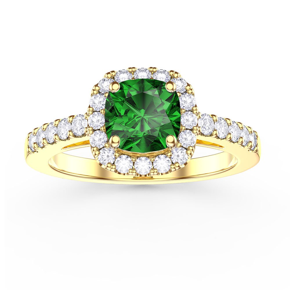 Princess Emerald and White Sapphire Cushion Cut Halo 18ct Yellow Gold Engagem