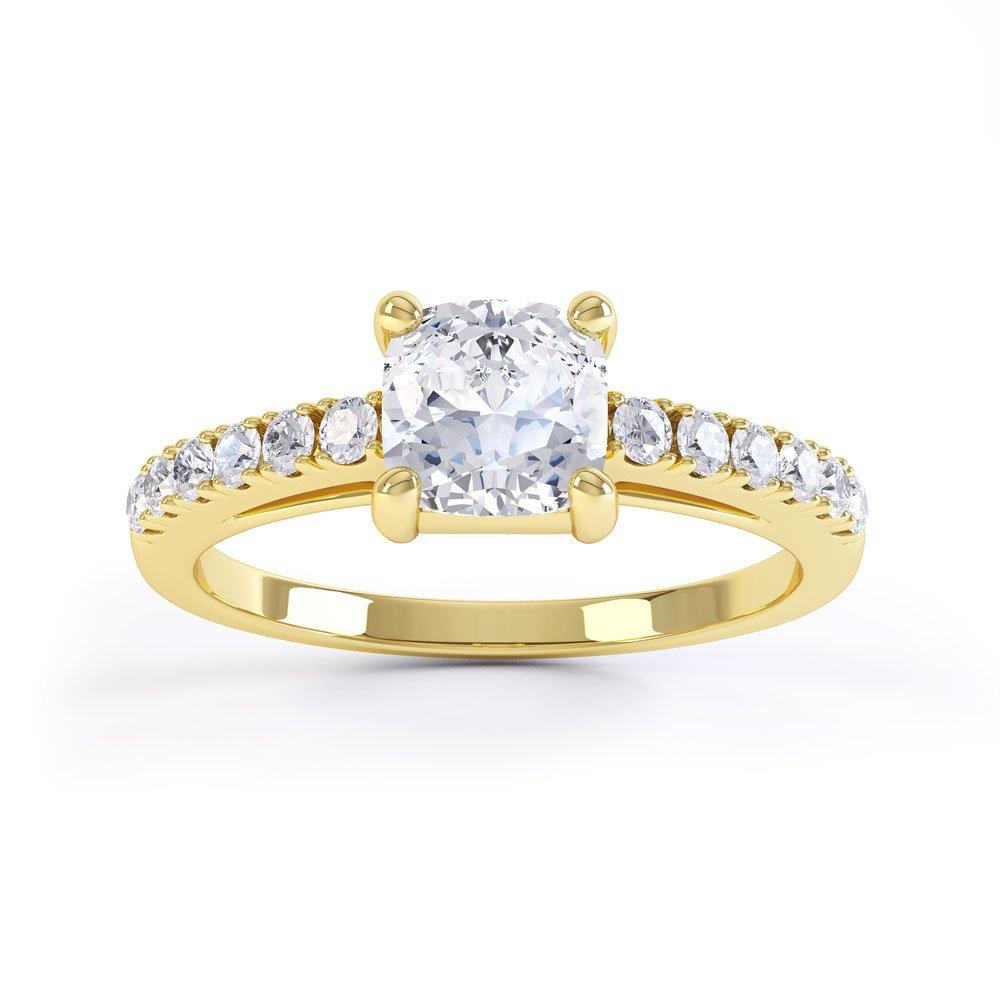 Unity Cushion Cut Diamond 18ct Yellow Gold Pave Engagement Ring Jian London