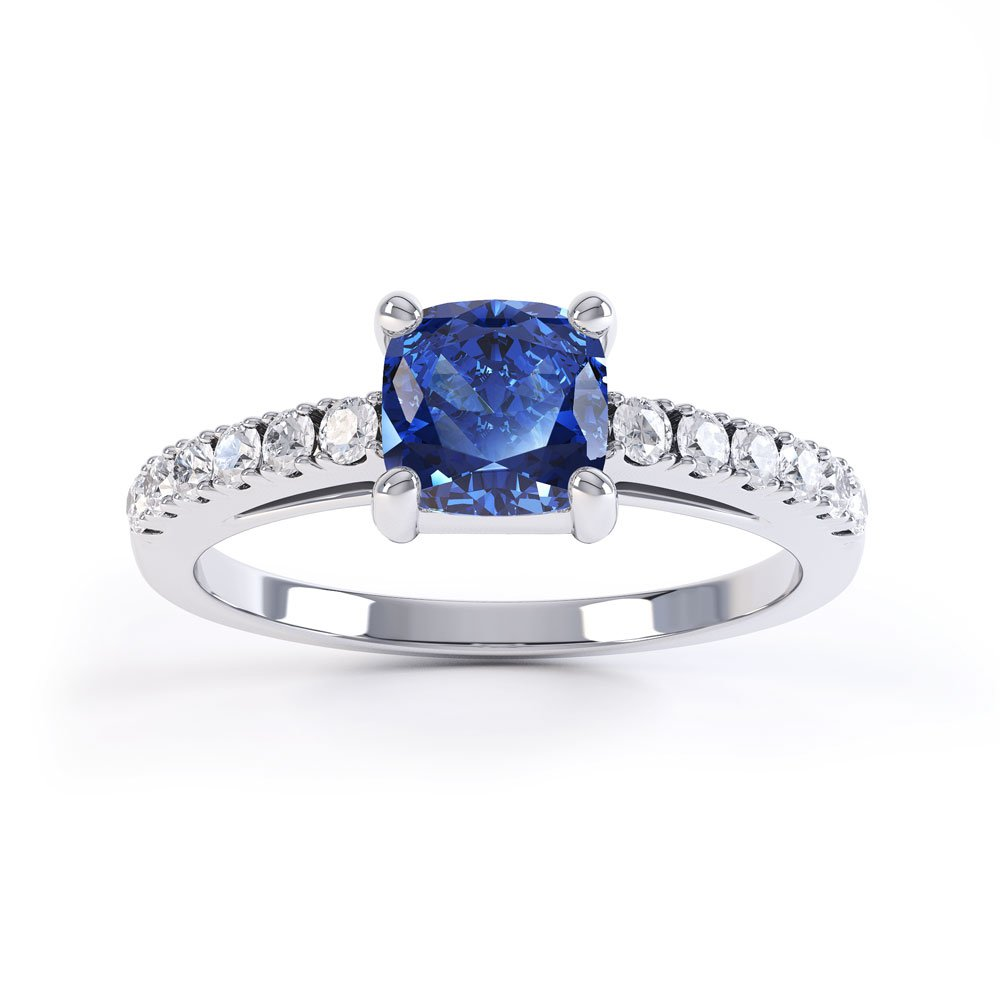 Unity Sapphire Cushion Pave Set 18ct White Gold Proposal Ring