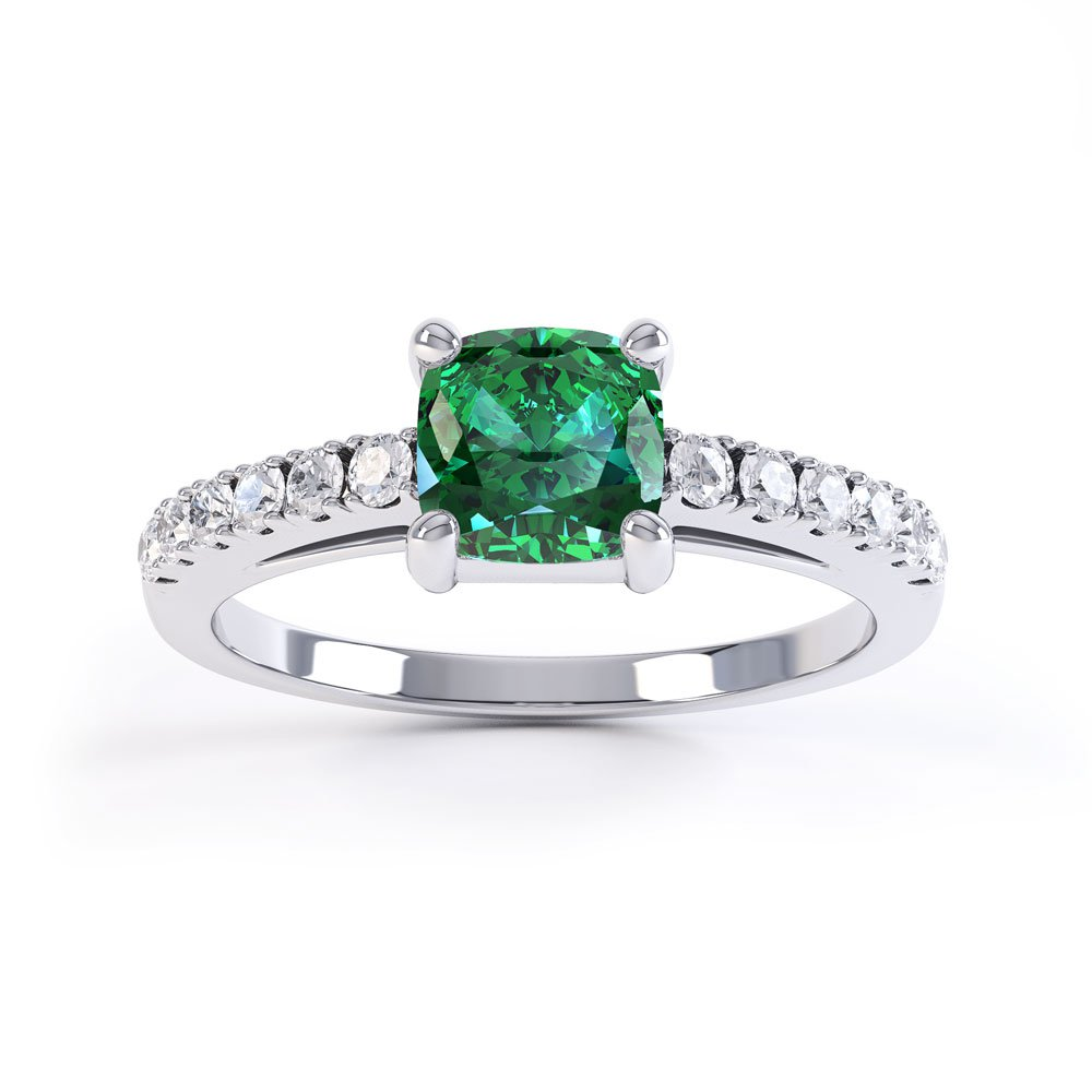 8085618fff1b10 Unity Emerald and Diamond Platinum Cushion Cut Pave Engagement Ring. Tap to  expand