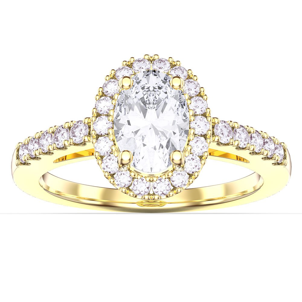 Eternity White Sapphire Oval Halo 18ct Gold Vermeil Promise Ring
