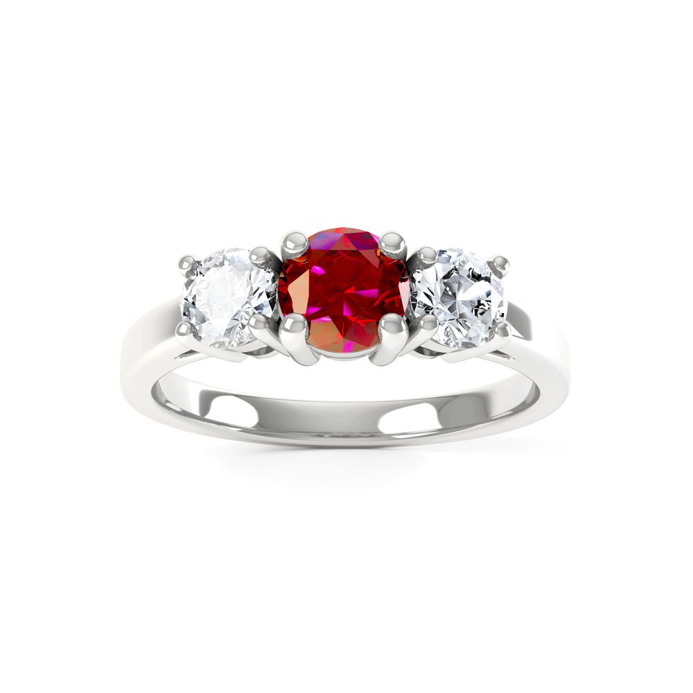 Eternity Three Stone Ruby And Diamond 18ct White Gold