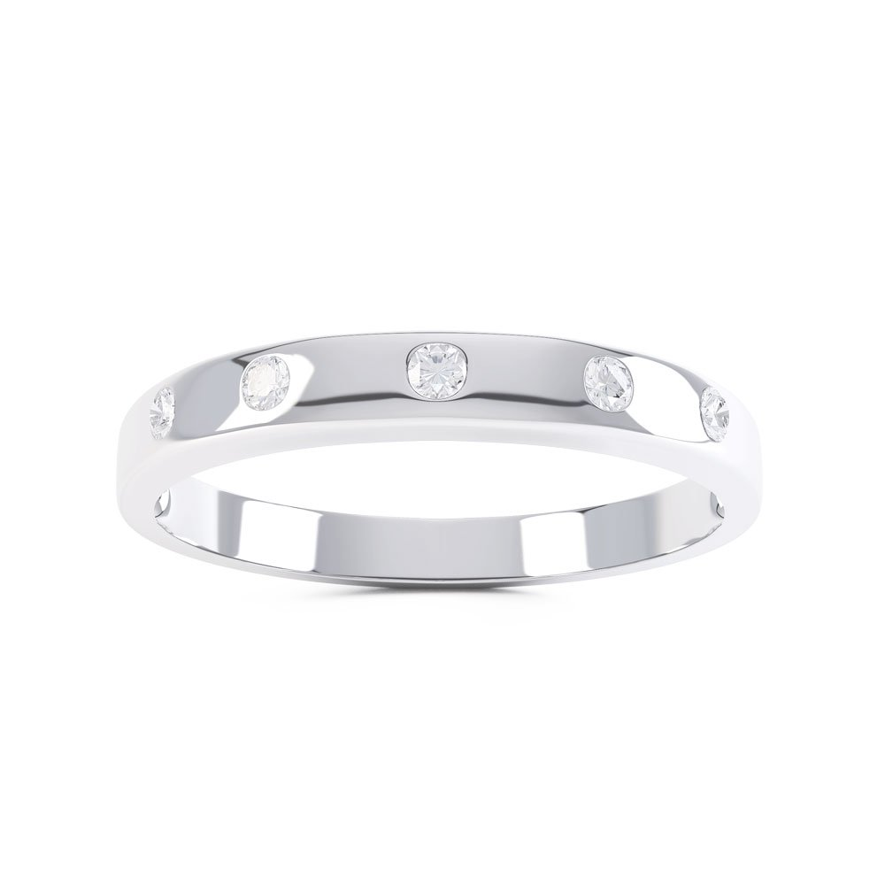 Unity White Sapphire Platinum plated Silver Promise Ring Band