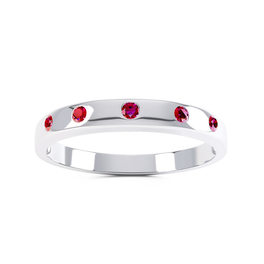 Unity Ruby Silver Promise Ring Band (ROUND WHITE GOLD)