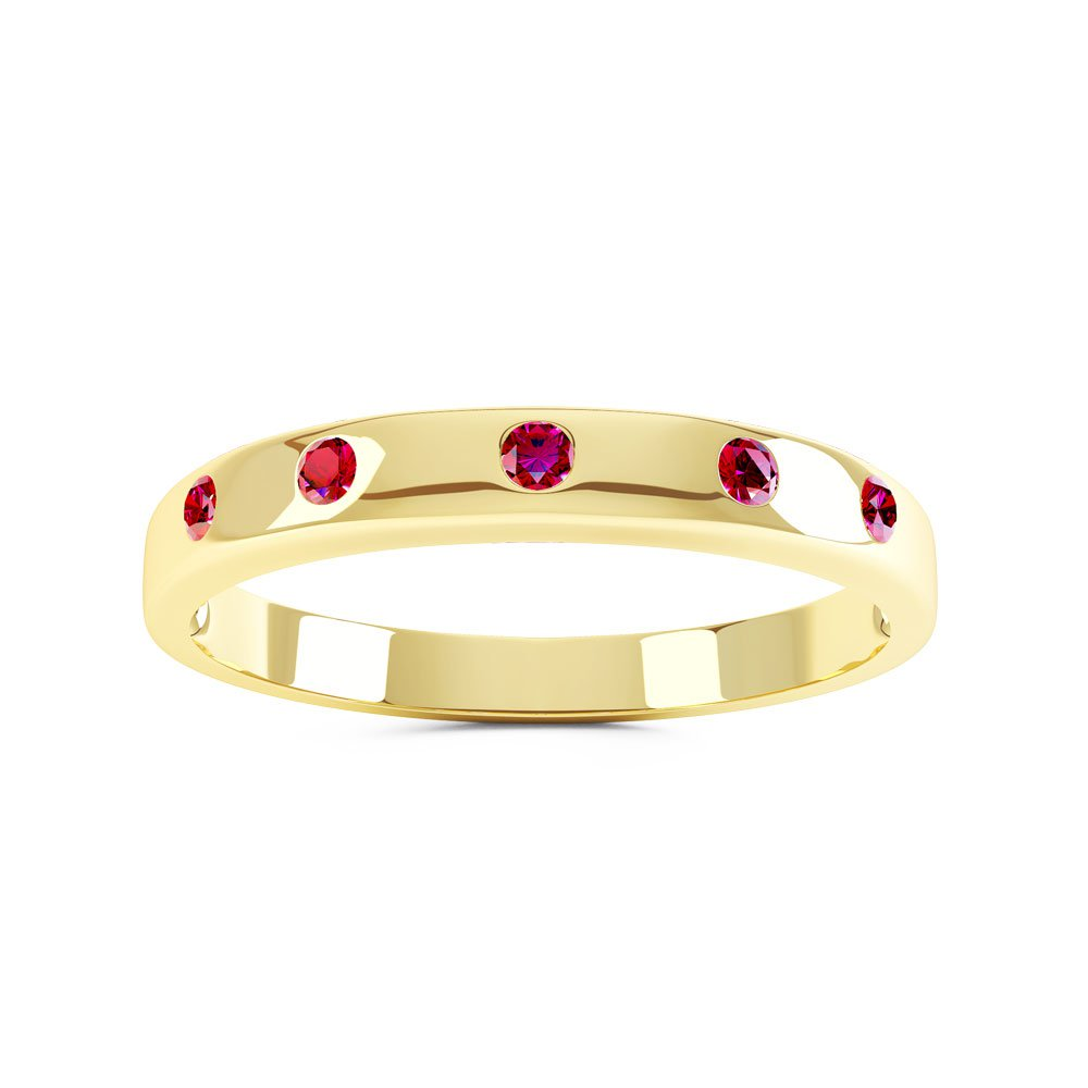 Unity Ruby 18ct Gold Vermeil Promise Ring Band (ROUND YELLOW GOLD)