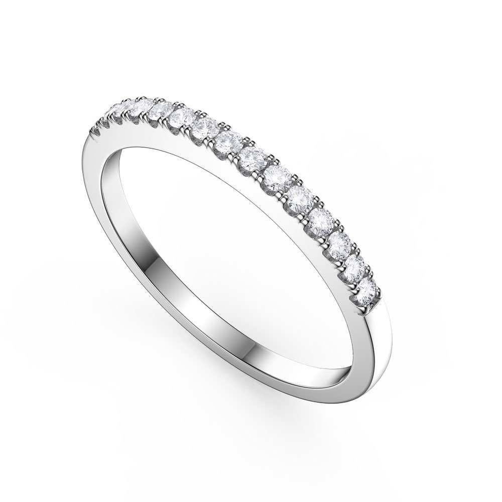 Promise White Sapphire Platinum plated Silver Half Eternity Ring