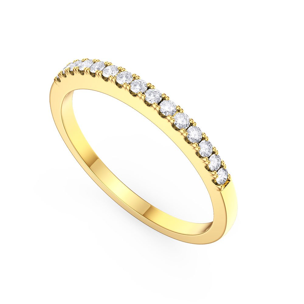 promise white sapphire 18ct yellow gold half eternity ring. Black Bedroom Furniture Sets. Home Design Ideas