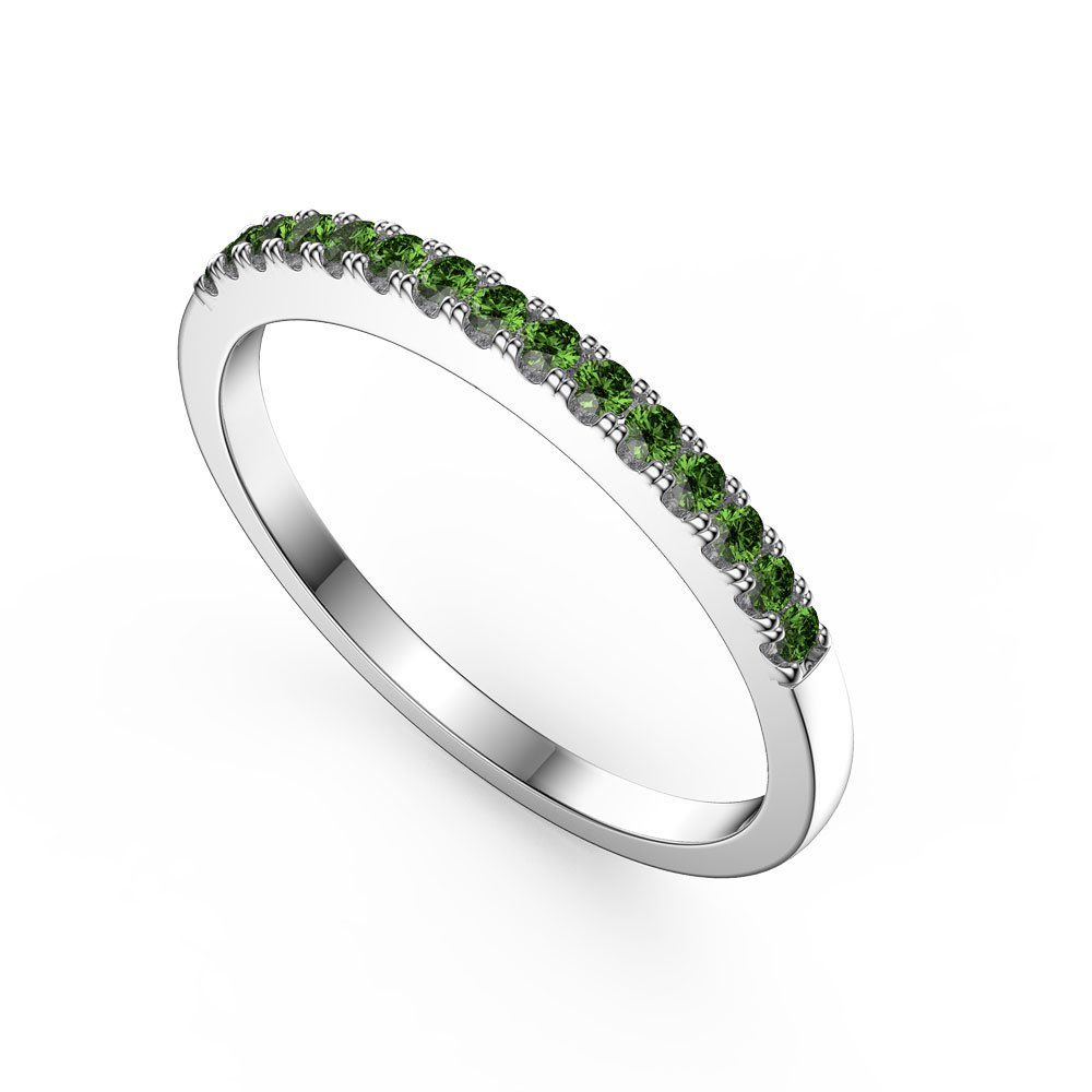 Promise Emerald Platinum plated Silver Half Eternity Ring