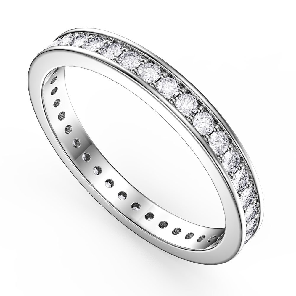 Promise White Sapphire Platinum plated Silver Channel Full Eternity Ring