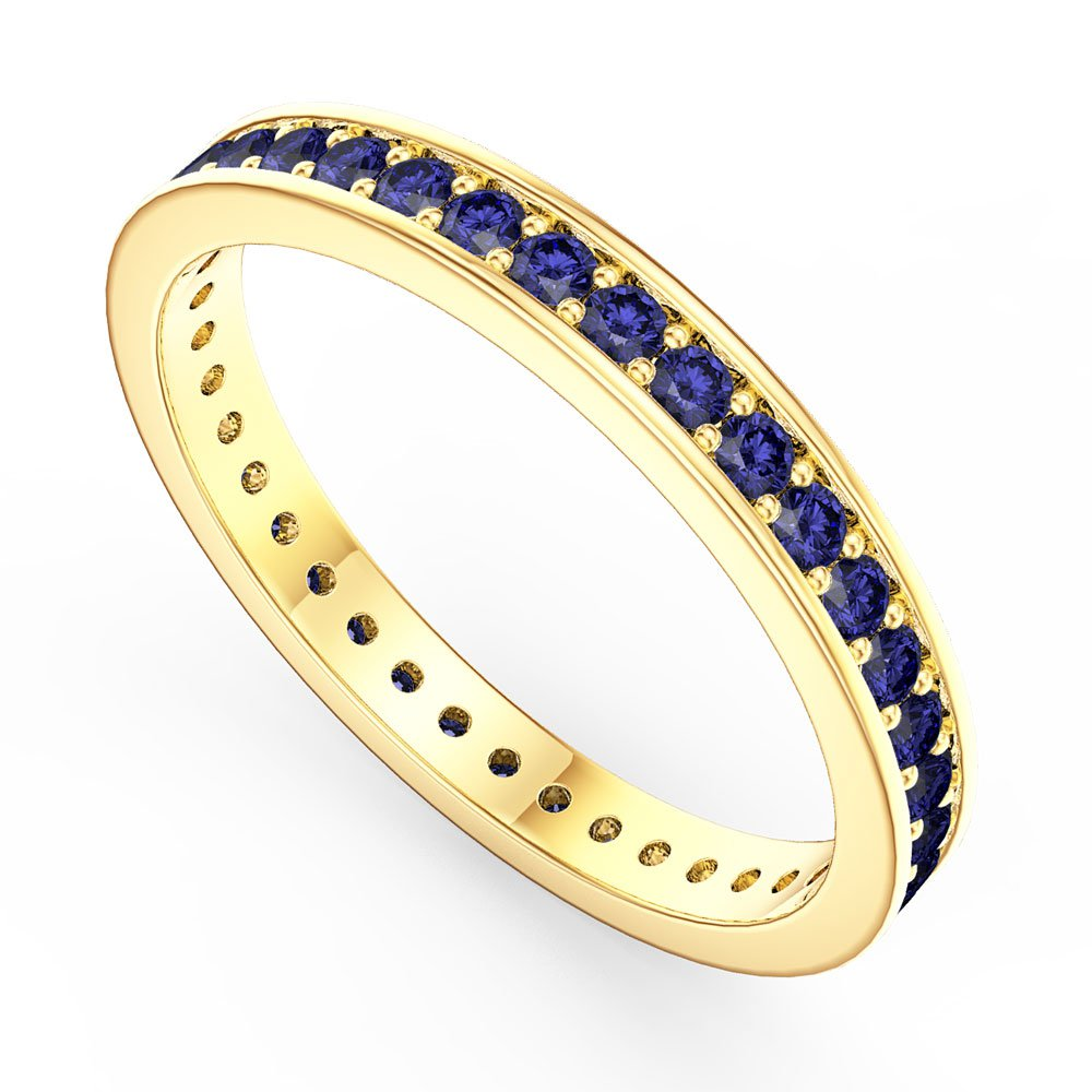 Promise Sapphire 18ct Gold Vermeil Channel Full Eternity Ring