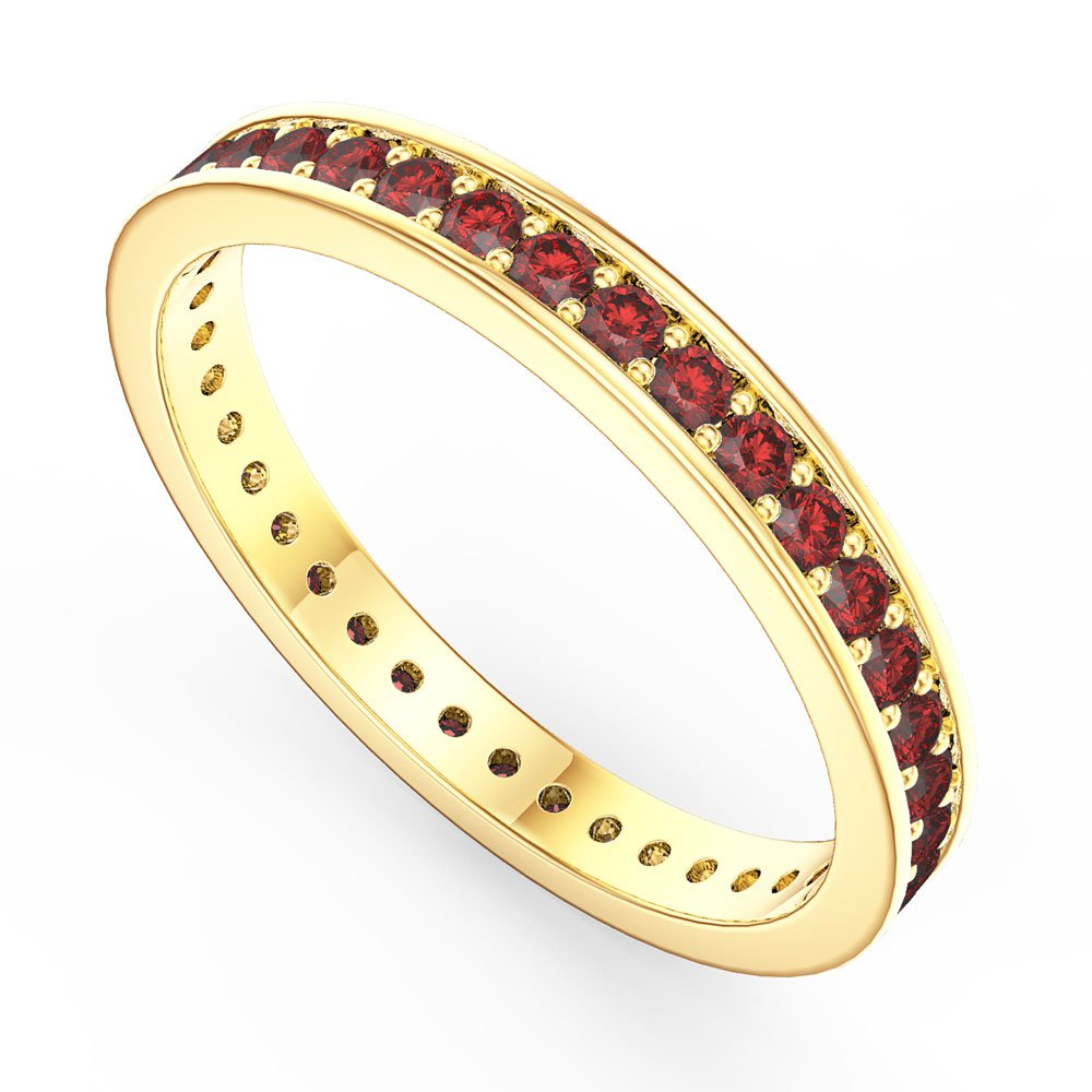 Promise Ruby 18ct Gold Vermeil Channel Full Eternity Ring