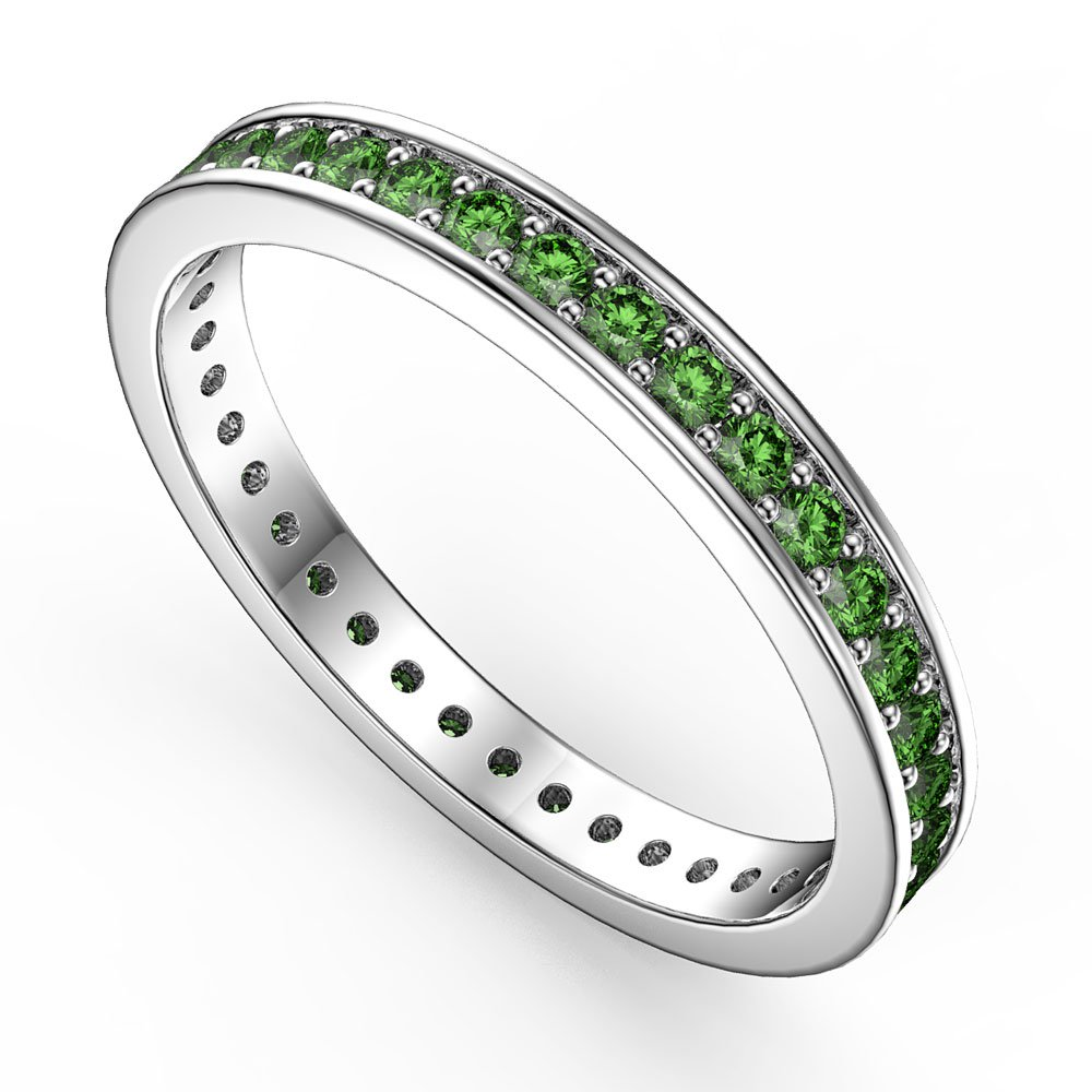 Promise Emerald Platinum plated Silver Channel Full Eternity Ring