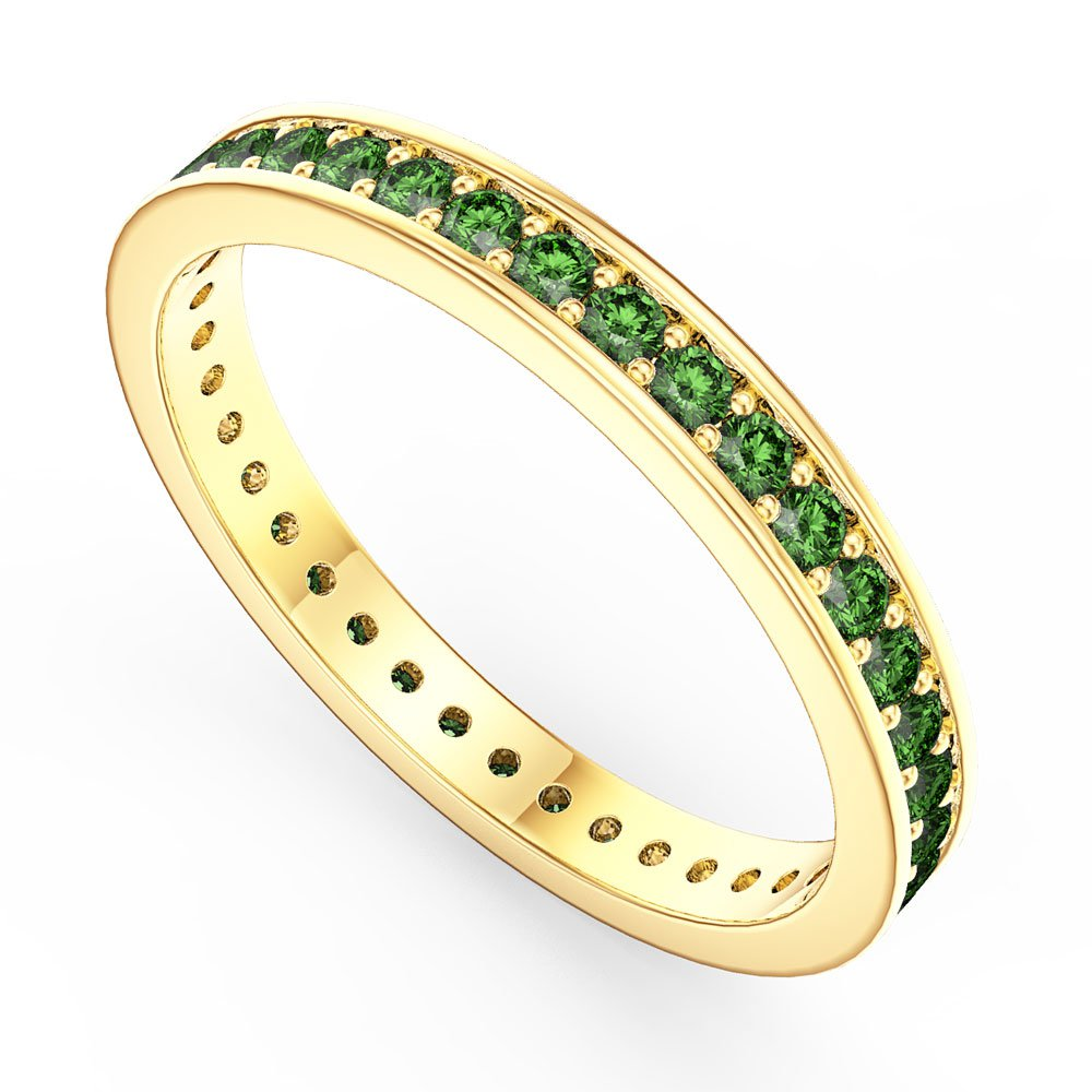 Promise Emerald 18ct Gold Vermeil Channel Full Eternity Ring