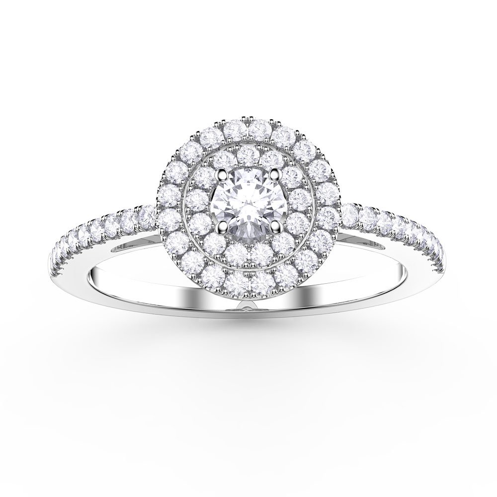 Fusion Round White Sapphire Halo Platinum plated Silver Ring
