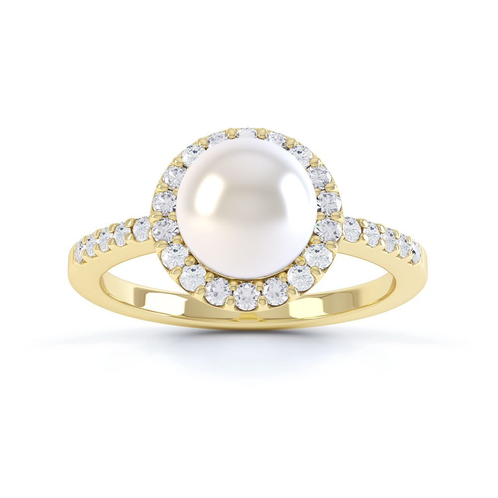 Venus Akoya Pearl And Diamond 18ct Yellow Gold Halo Engagement Ring Jian London