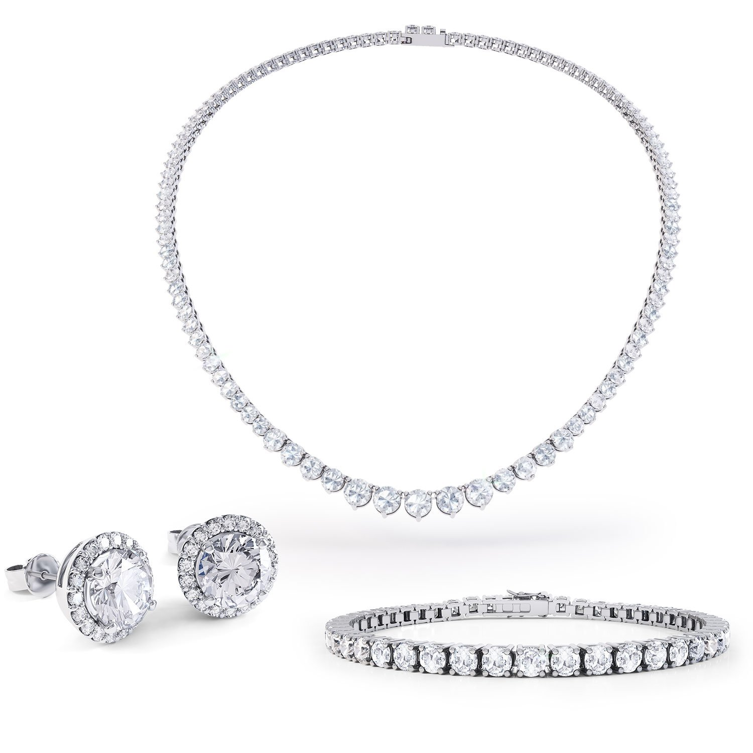 Eternity White Sapphire Platinum plated Silver Jewellery Set with Necklace