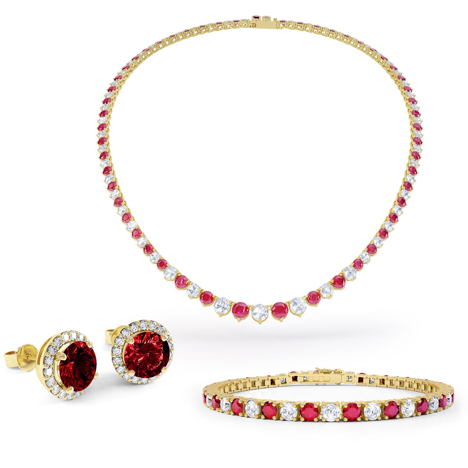 Eternity Ruby CZ 18ct Gold plated Silver Tennis Necklace FZ3XLx