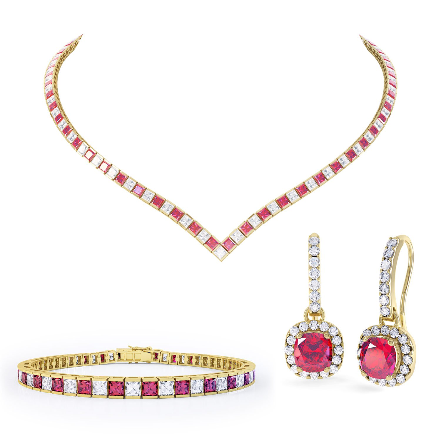 Princess Ruby and White Sapphire 18ct Gold Vermeil Jewellery Set