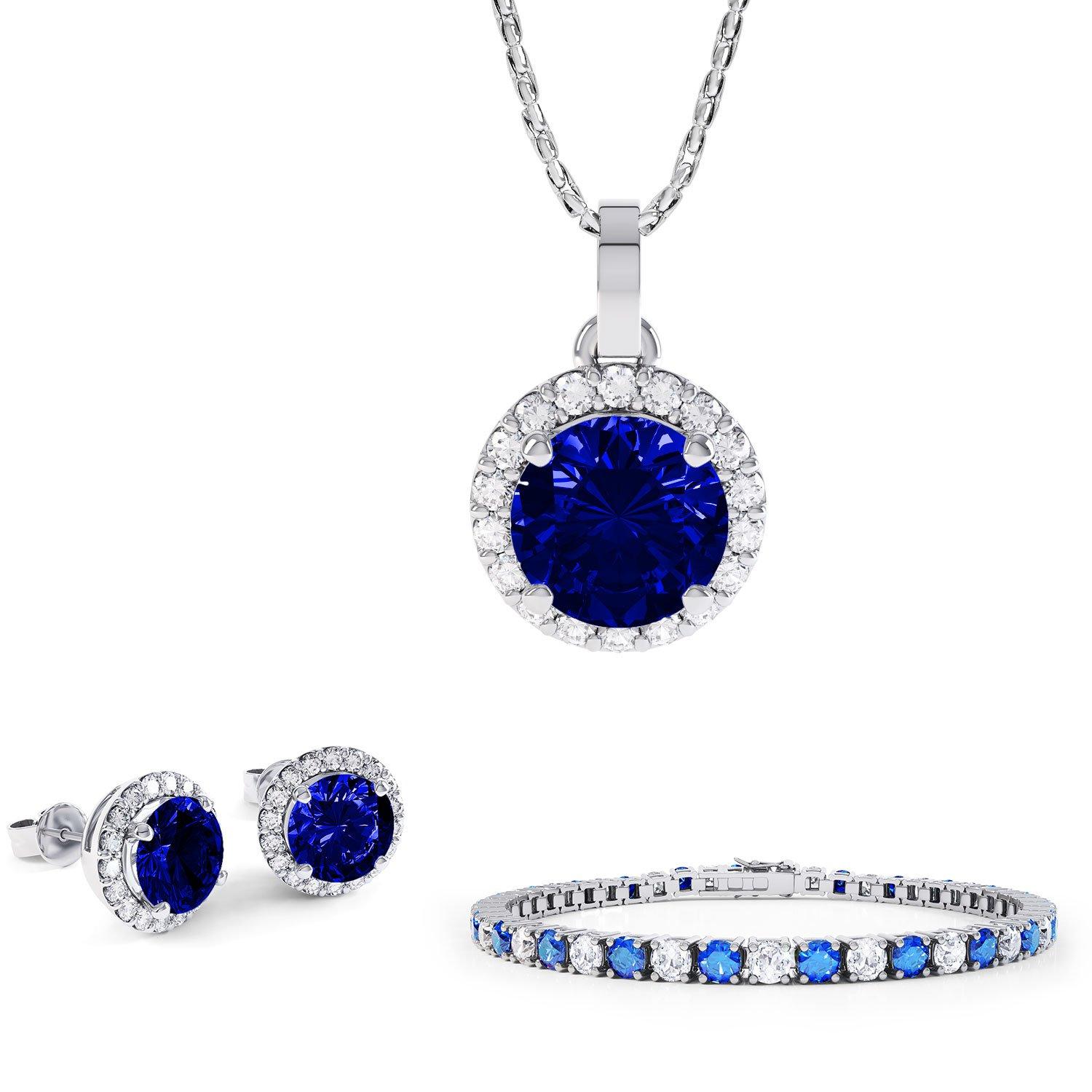 Eternity Blue and White Sapphire Platinum plated Silver Jewellery Set with Pendant