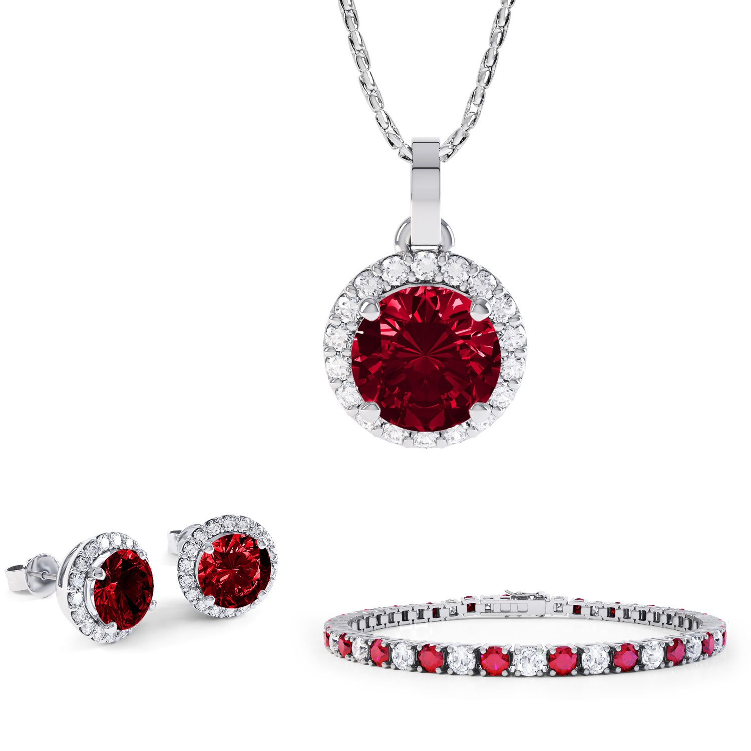Eternity Ruby and White Sapphire Platinum plated Silver Jewellery Set with Pendant