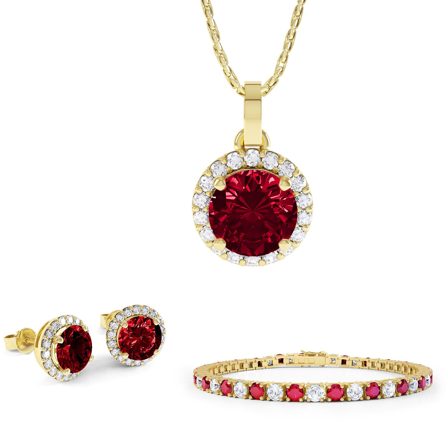 Eternity Ruby and White Sapphire 18ct Gold Vermeil  Jewellery Set with Pendant