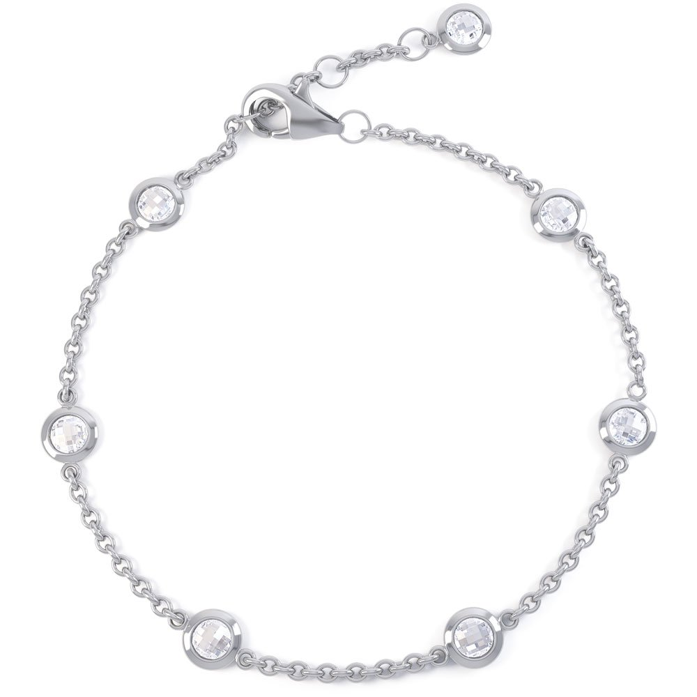 By the Yard White Sapphire 18ct White Gold Bracelet