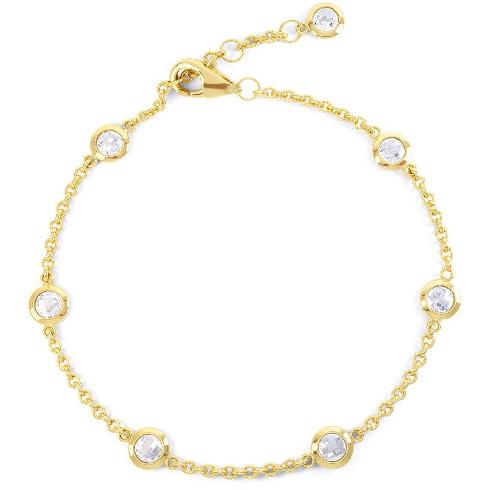 By the Yard White Sapphire 18ct Gold Vermeil Bracelet