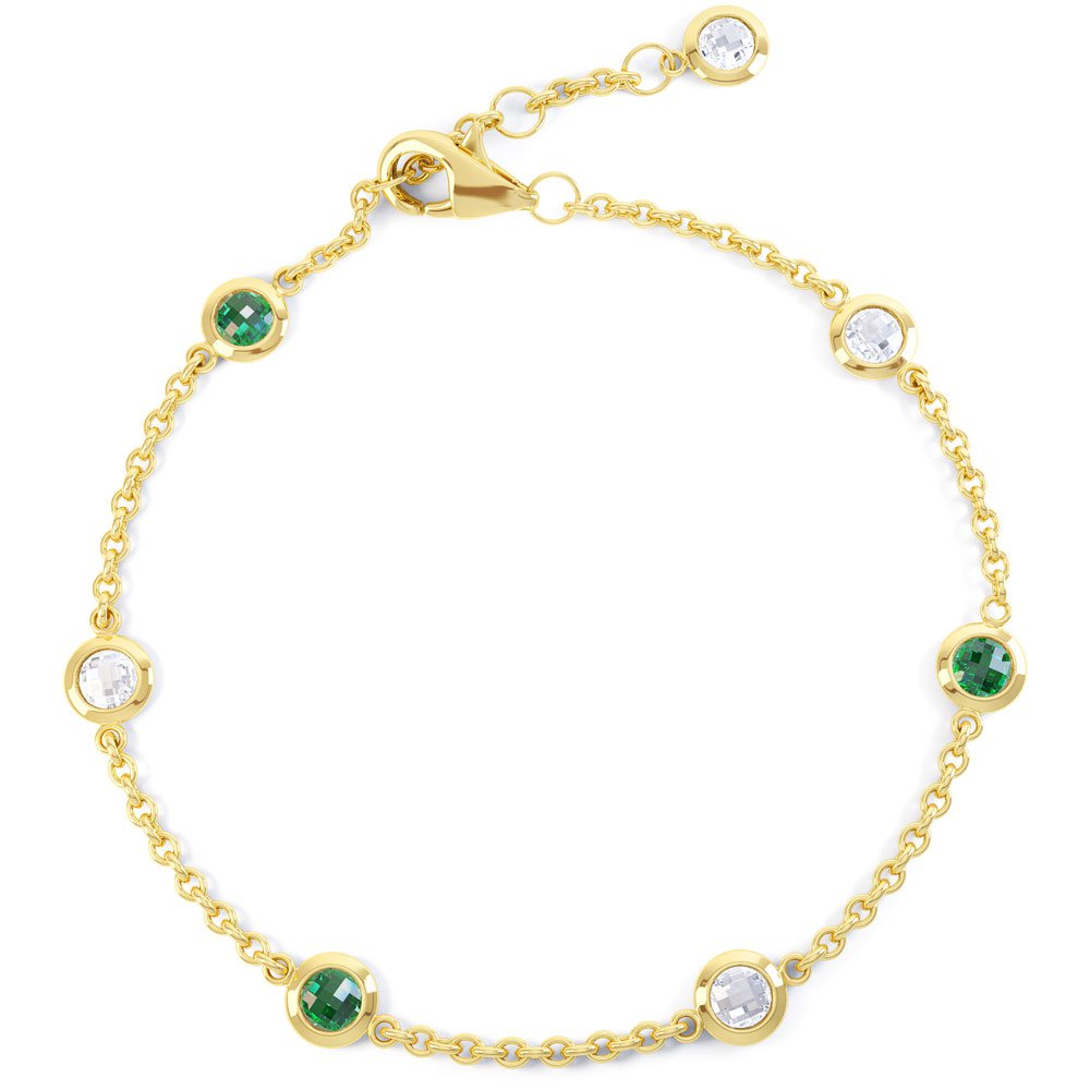 By the Yard Emerald and White Sapphire 18ct Yellow Gold Bracelet