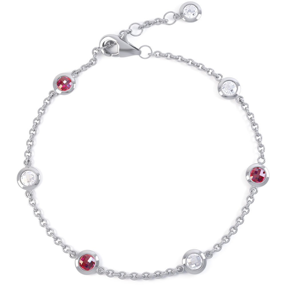 By the Yard Ruby and White Sapphire Platinum plated Silver Bracelet