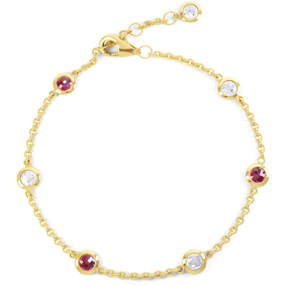 By the Yard Ruby and White Sapphire 18ct Yellow Gold Bracelet