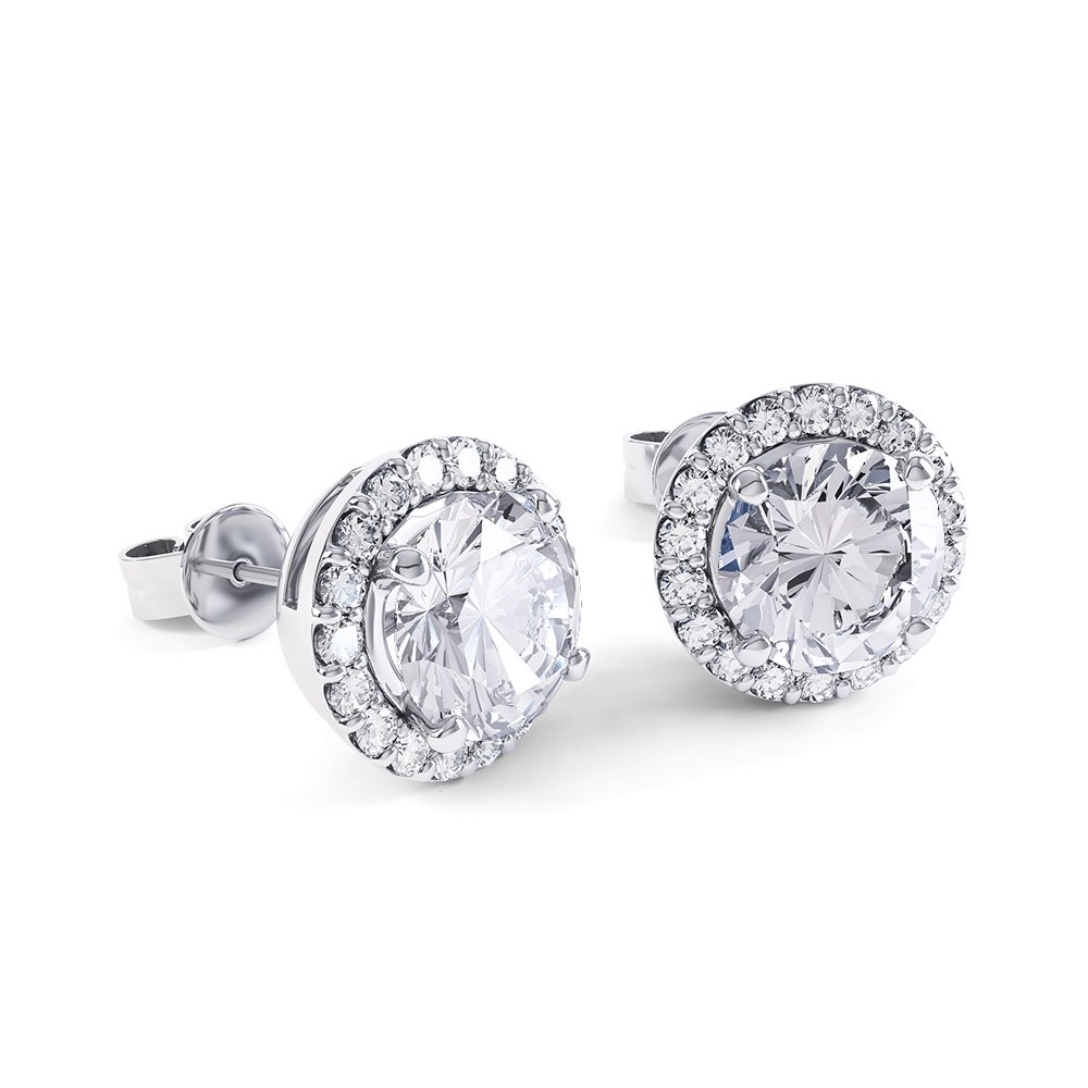 Eternity 2ct White Sapphire Halo 9ct White Gold Stud Earrings