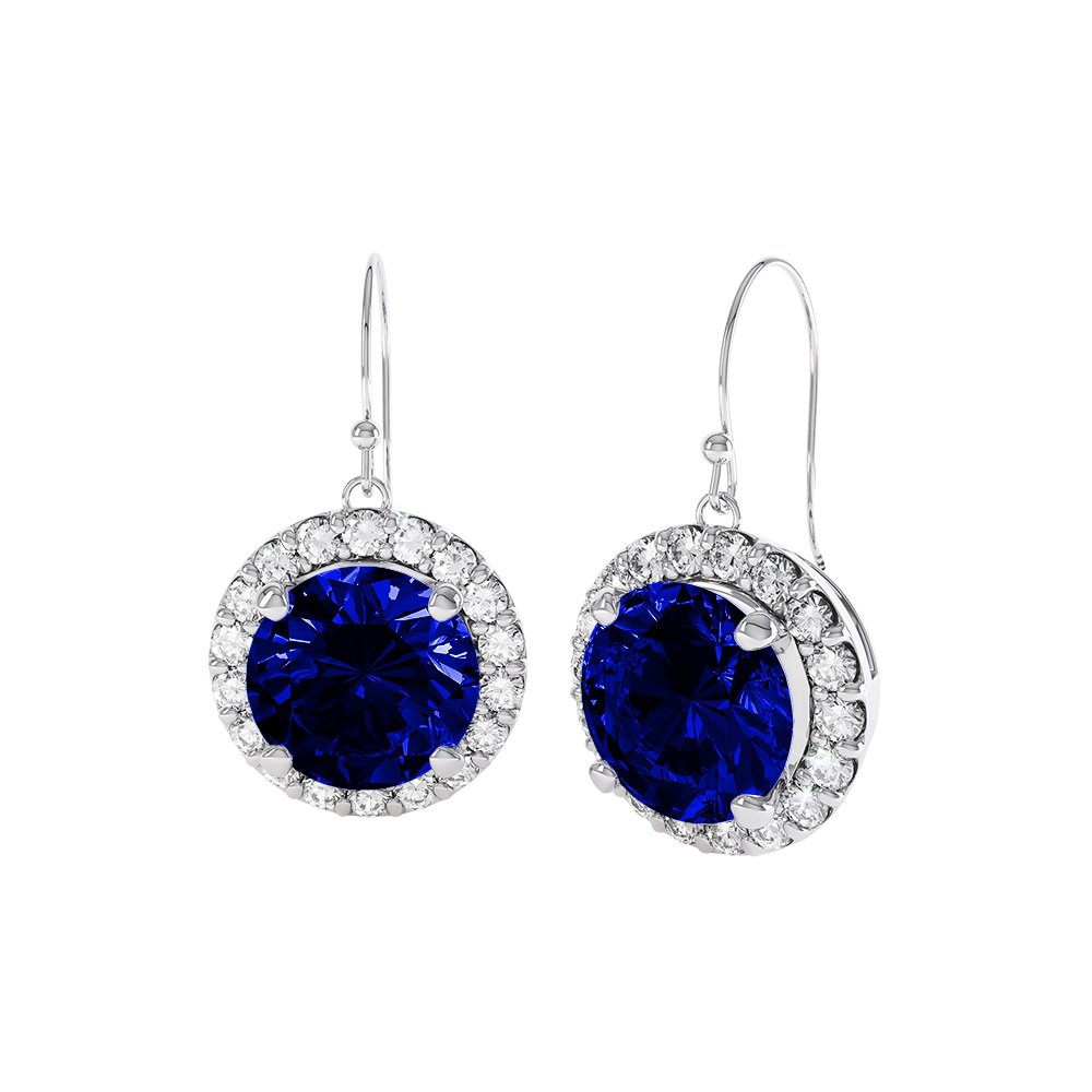 Eternity 2ct Sapphire Halo Platinum plated Silver Drop Earrings