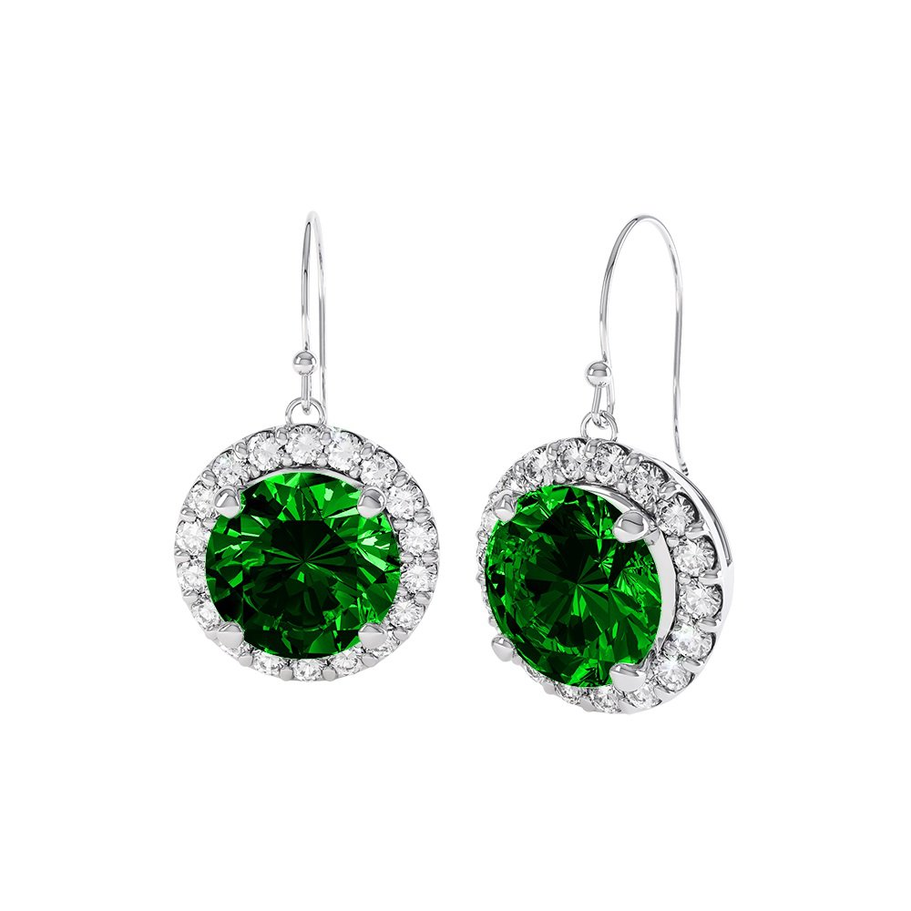 with tw diamonds emerald earrings white in gold