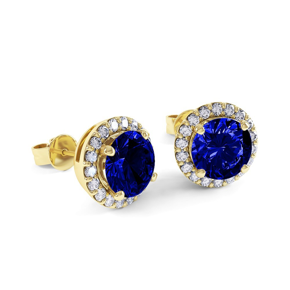 Eternity 2ct Sapphire Halo 18ct Gold Vermeil Stud Earrings