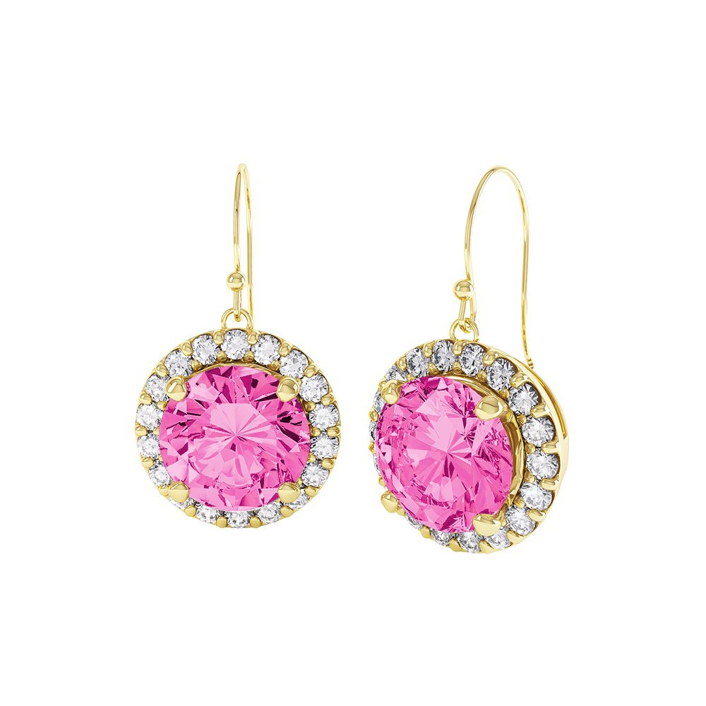 Halo 2ct Pink Sapphire 18ct Gold Vermeil Drop Earrings