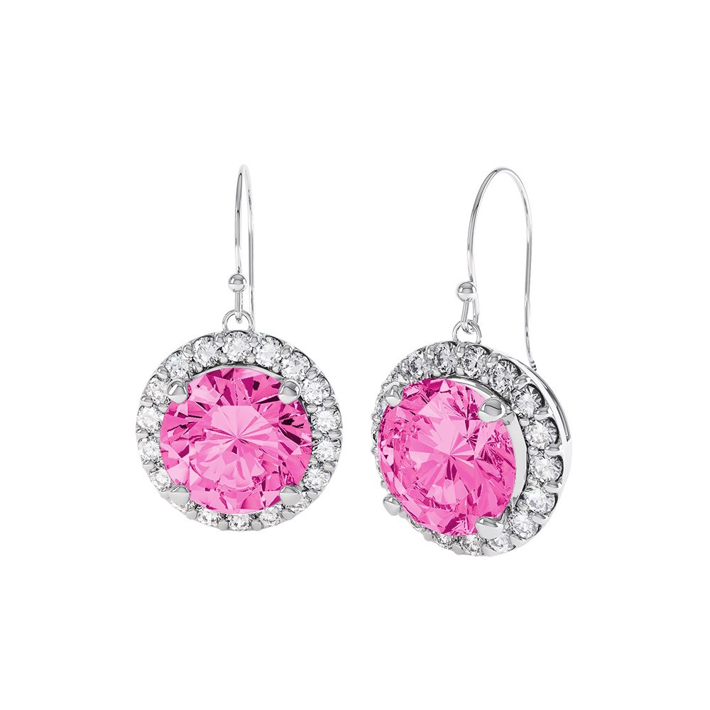 Halo 2ct Pink Sapphire Platinum plated Silver Drop ...
