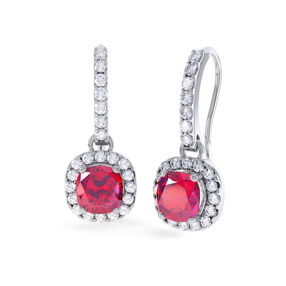 Princess 2ct Ruby Halo Platinum plated Silver Pave Drop Earrings