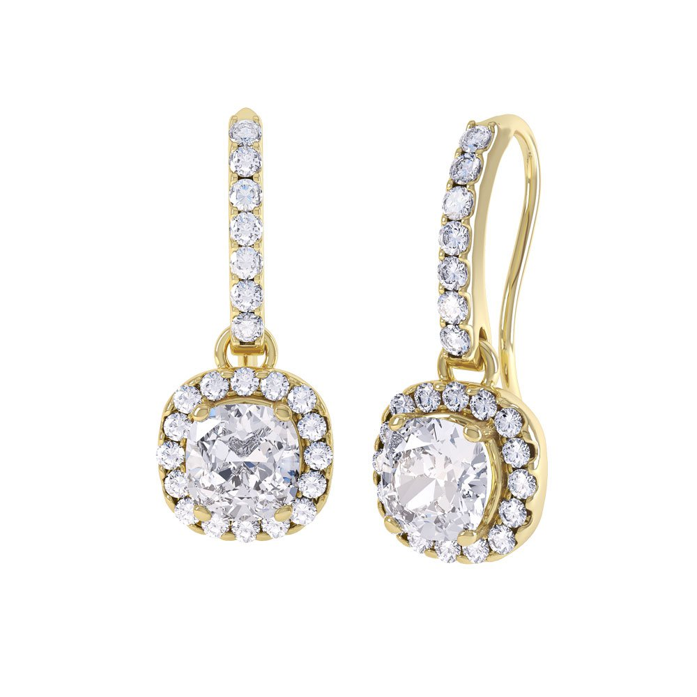 Princess 2ct White Sapphire Halo 18ct Gold Vermeil Pave Drop Earrings