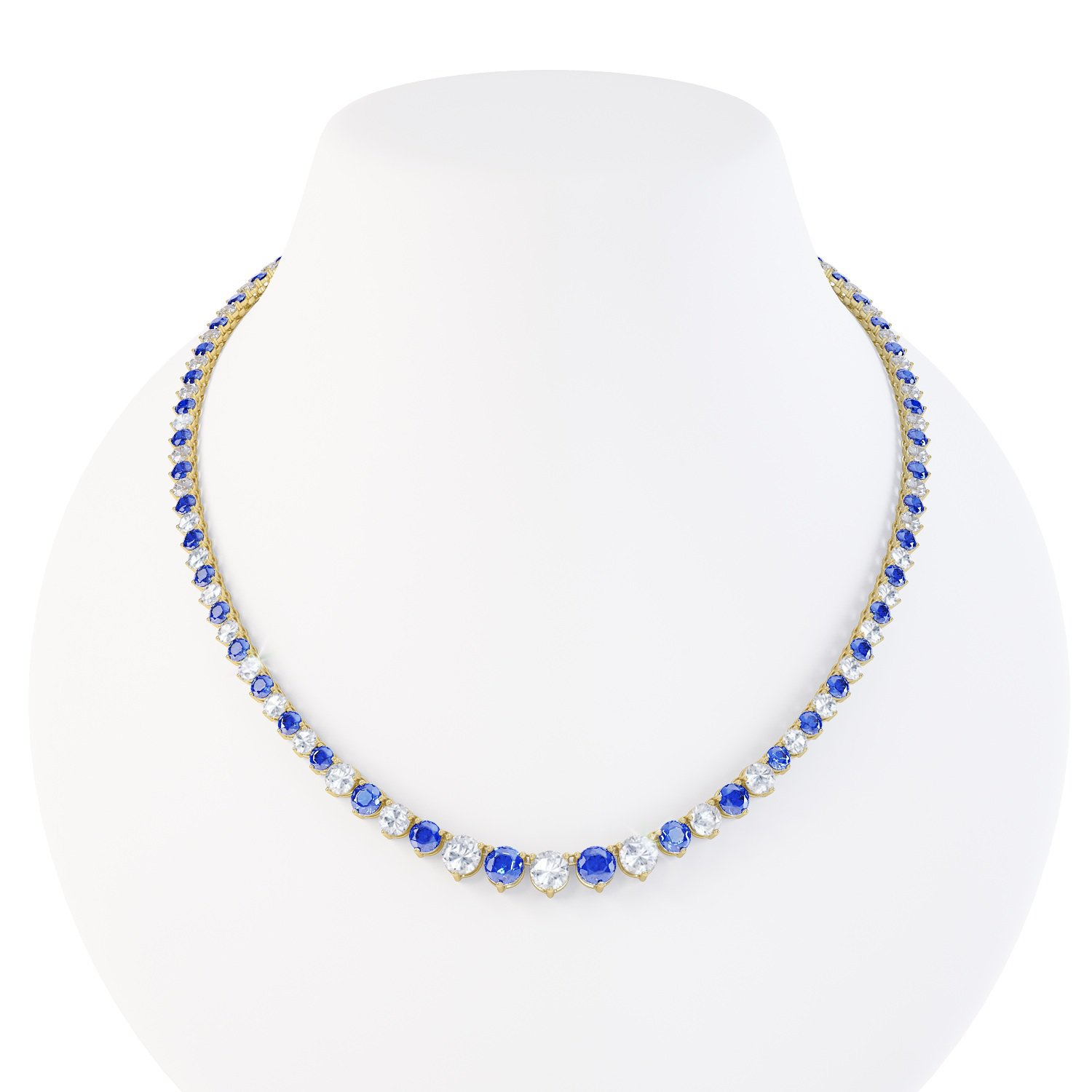 Eternity Blue and White Sapphire 18ct Gold Vermeil Tennis Necklace