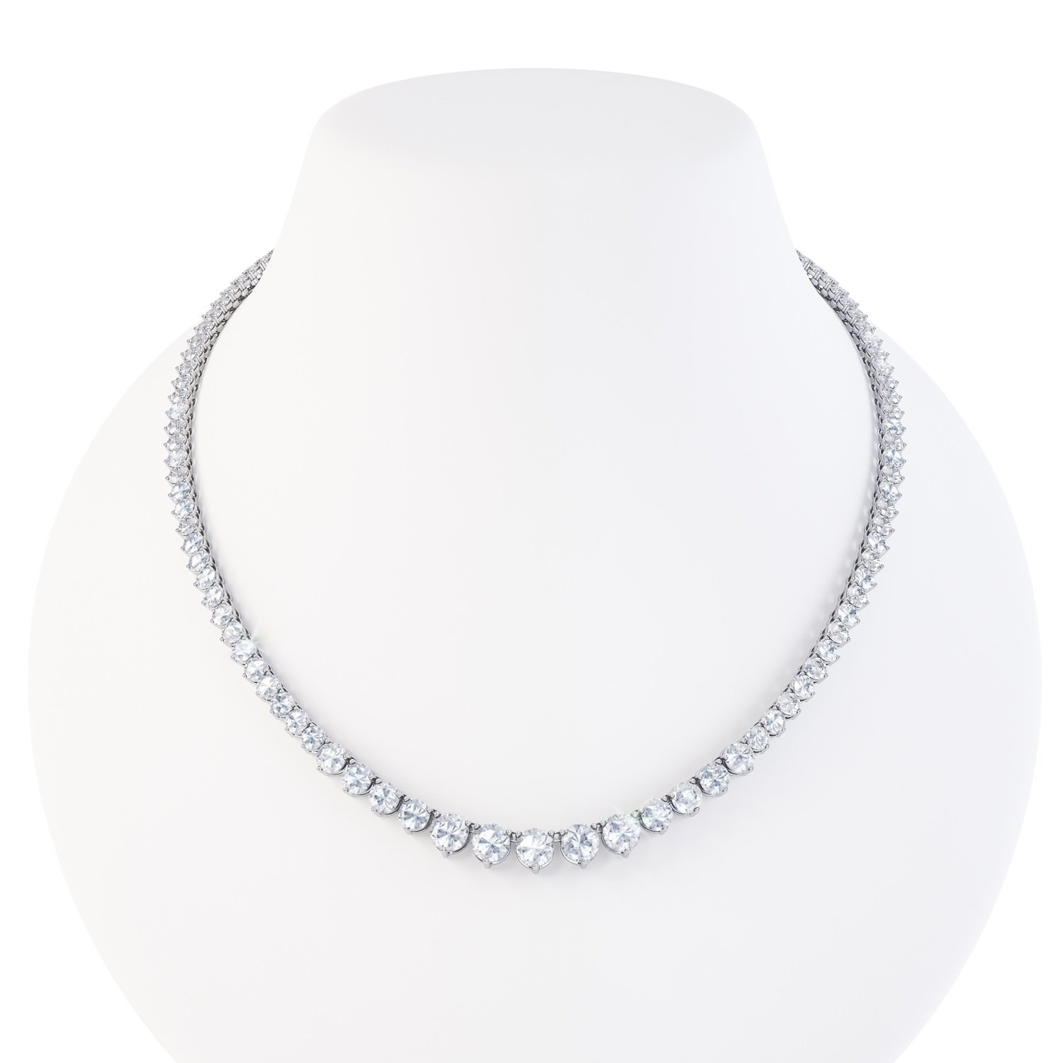 13.ct Diamond 18ct White Gold Eternity Tennis Necklace
