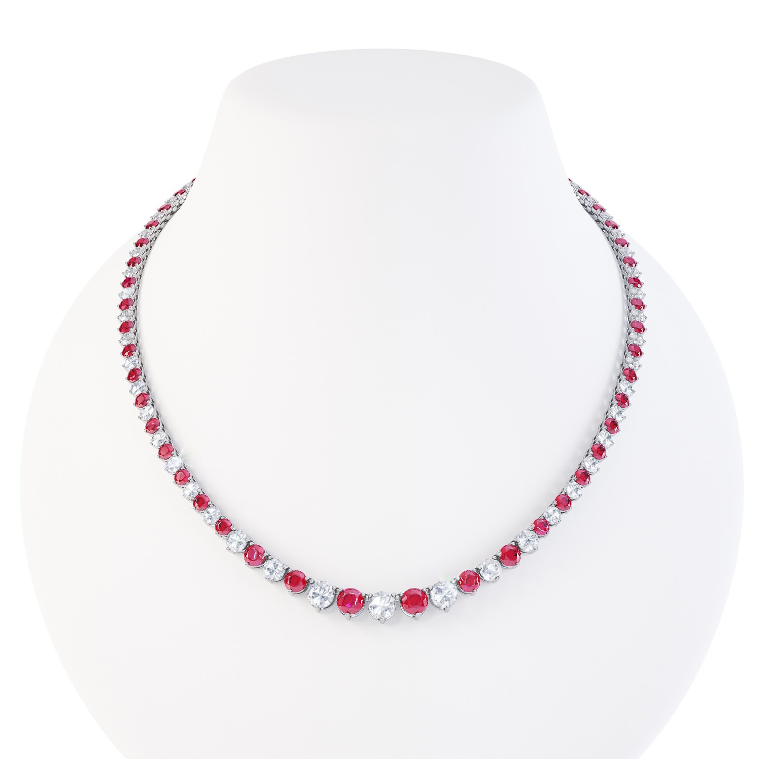 Eternity Ruby and White Sapphire Platinum plated Silver Tennis Necklace