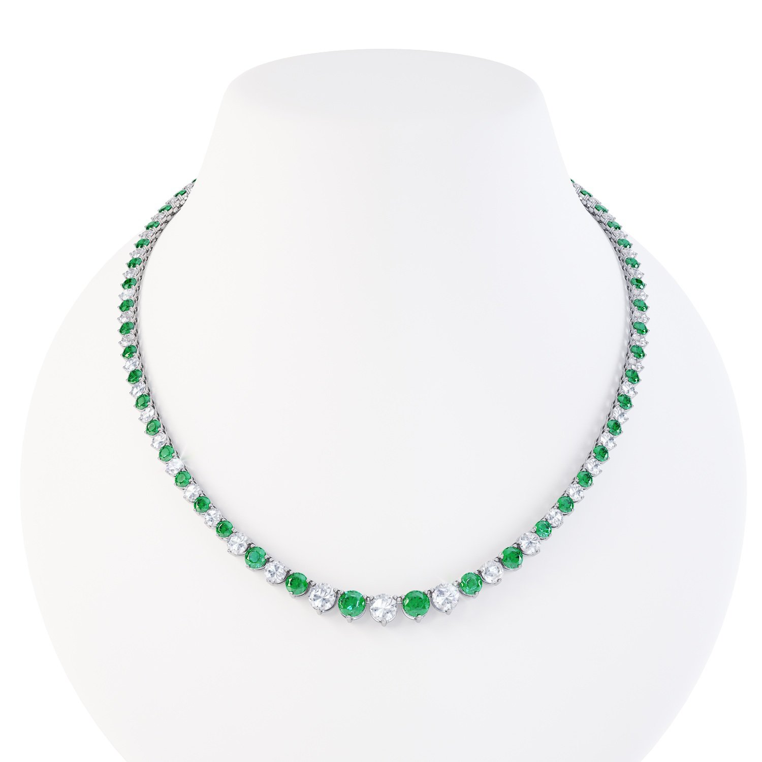 Eternity Emerald and White Sapphire Platinum plated Silver Tennis Necklace