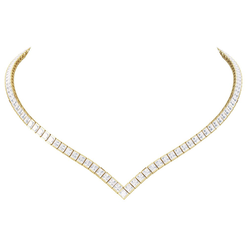 Princess Diamond CZ 18ct Gold plated Silver Tennis Necklace