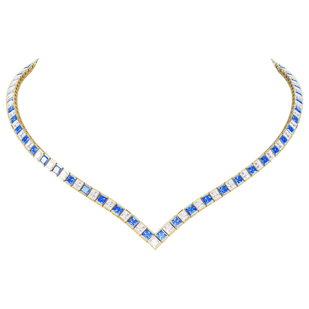 Princess Sapphire CZ 18ct Gold plated Silver Tennis Necklace