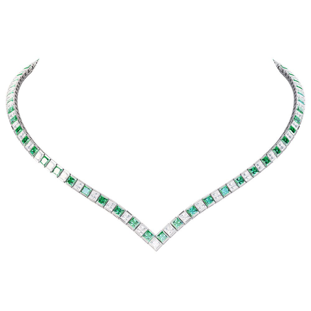 Princess Emerald CZ Rhodium plated Silver Tennis Necklace