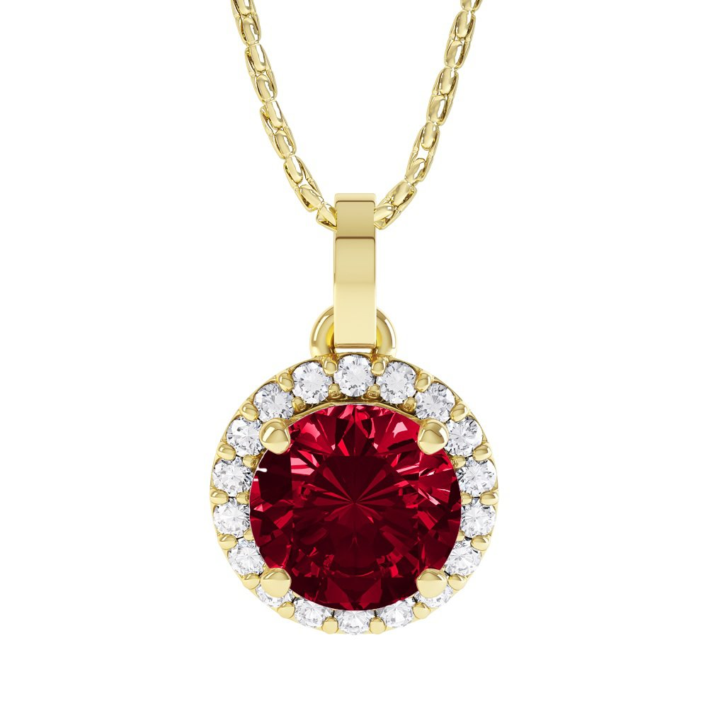 Eternity 1ct Ruby Halo 18ct Gold Vermeil Pendant